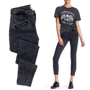 Current/Elliott Gray Zip Moto Skinny Jeans 19-0504
